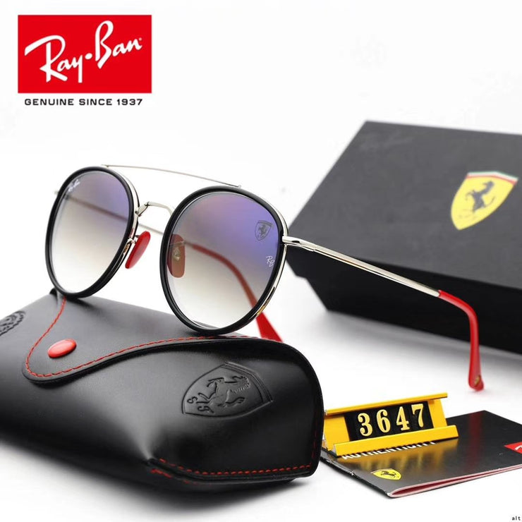 Ray Ban RB3647 Scuderia Ferrari Collection - Silver Frame & Mirror Lenses with Red Temple Tips _mxm_store_exclusive_brands