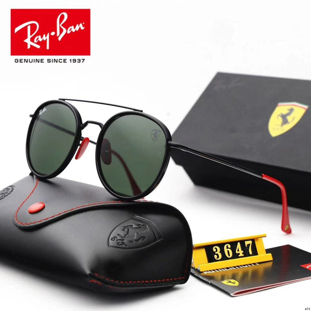 Ray Ban RB3647 Scuderia Ferrari Collection - Black Frame & Green Lenses with Red Temple Tips _mxm_store_exclusive_brands