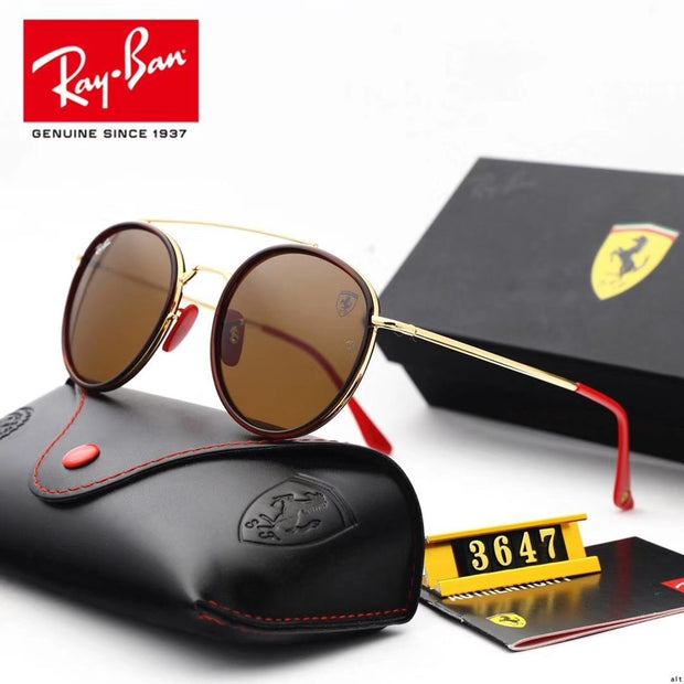 Ray Ban RB3647 Scuderia Ferrari Collection - Golden Frame & Brown Lenses with Red Temple Tips _mxm_store_exclusive_brands