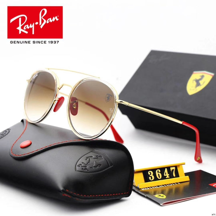 Ray Ban RB3647 Scuderia Ferrari Collection - Golden Frame & Light Brown Lenses with Red Temple Tips _mxm_store_exclusive_brands