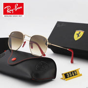 Ray Ban RB3548 Hexagonal Scuderia Ferrari Collection -  Golden Frame & Brown Lenses with red Temple Tips _mxm_store_exclusive_brands