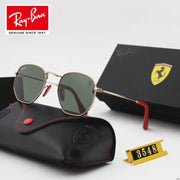 Ray Ban RB3548 Hexagonal Scuderia Ferrari Collection -  Golden Frame & Grey Lenses with Red Temple Tips _mxm_store_exclusive_brands