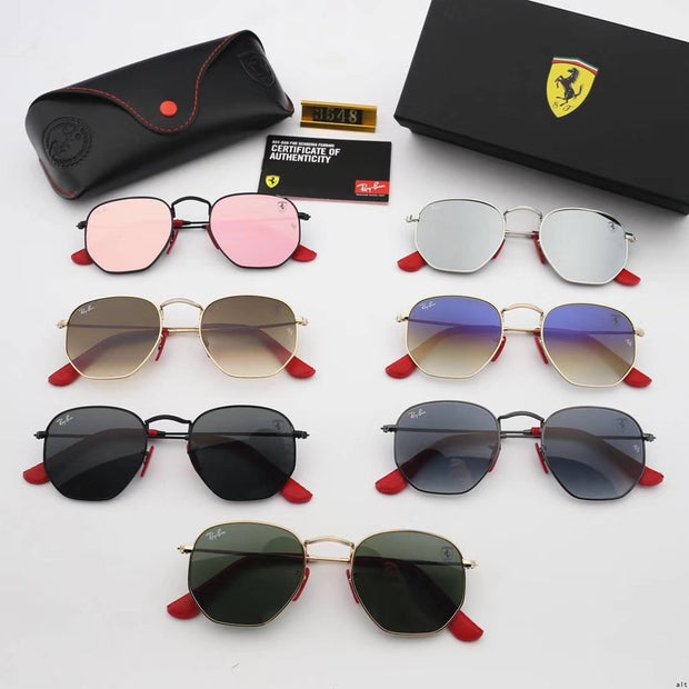 Ray Ban RB3548 Hexagonal Scuderia Ferrari Collection -  Golden Frame & Green Lenses with Red Temple Tips _mxm_store_exclusive_brands