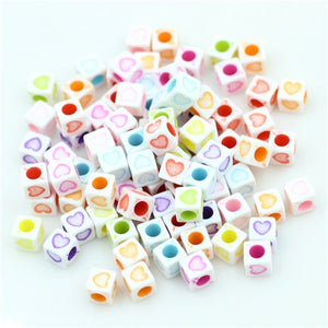 ZHUBI 100pcs 6mm Mixed Square Alphabet Letter Beads Charms Loose Heart Number Beads For Jewelry Making DIY Bracelets Accessories