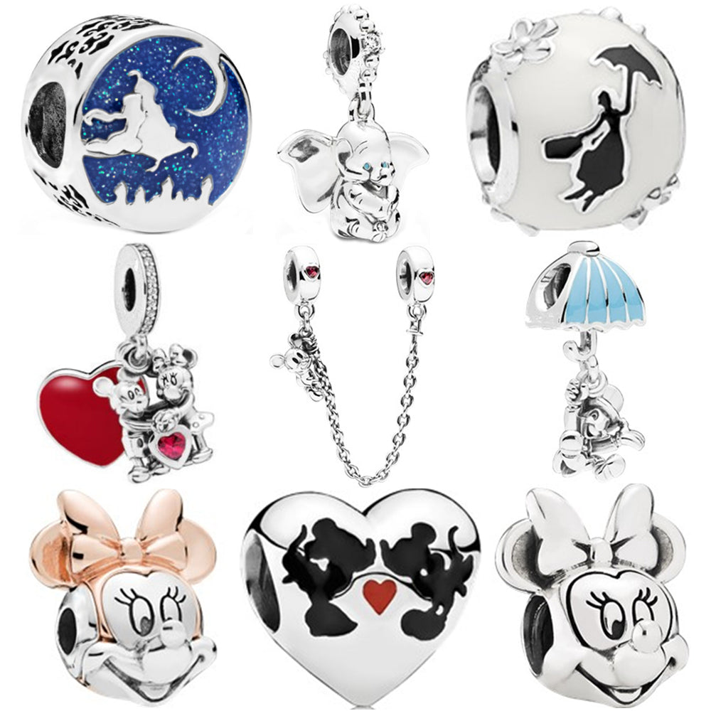 Sliver Bead Mickey Fairytale Dumbo Love Charm Fit Pandora Bracelet Necklace DIY Women Jewelry Gift