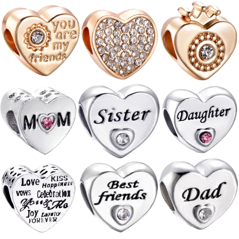 Sister Daughter Friend Family Charms Heart Beads Fits Original Pandora Charm Bracelet&Bangle DIY Women Jewelry Making 2019