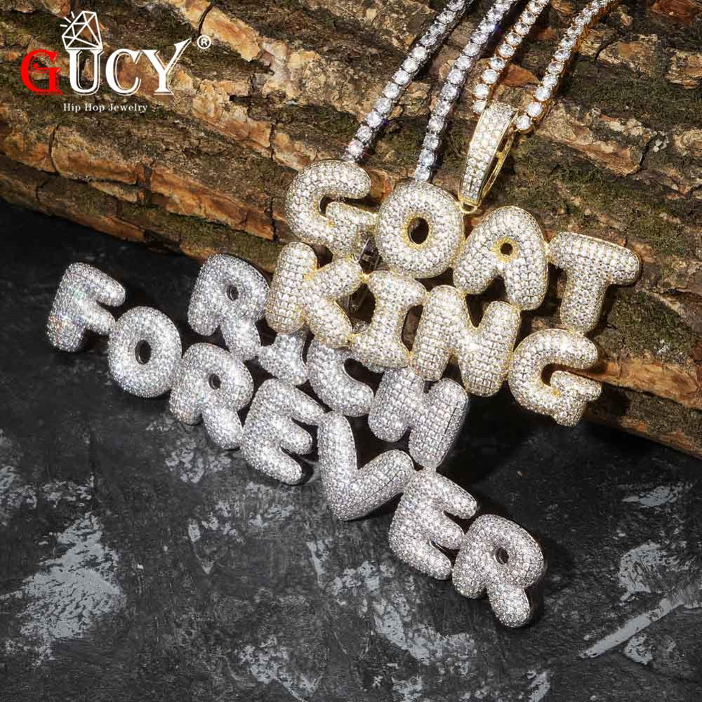 Pendant & Necklace Charm Men's CZ Hip Hop Jewelry With Gold Silver Tennis Chain