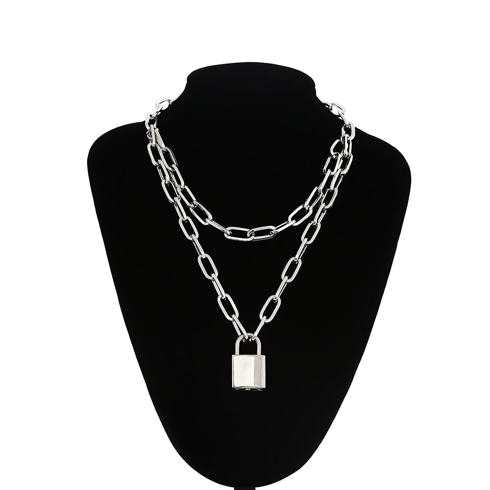 necklace punk 90s link chain silver color padlock pendant necklace women fashion gothic  jewelry