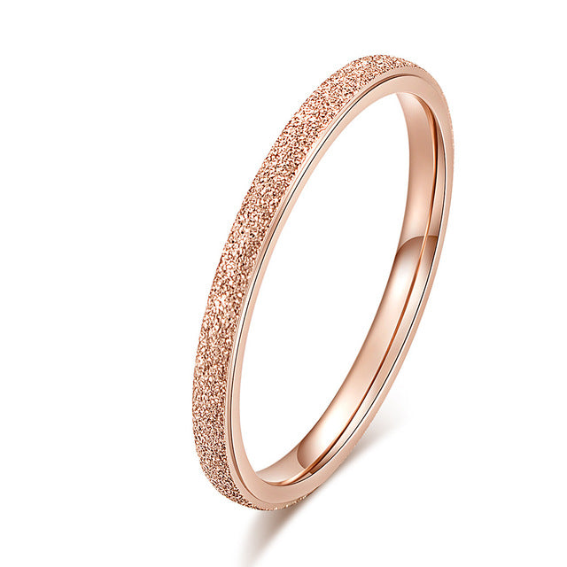 Scrub Stainless Steel Women 's Rings 2 mm Width Rose Gold Color Finger  Gift For Girl Jewelry