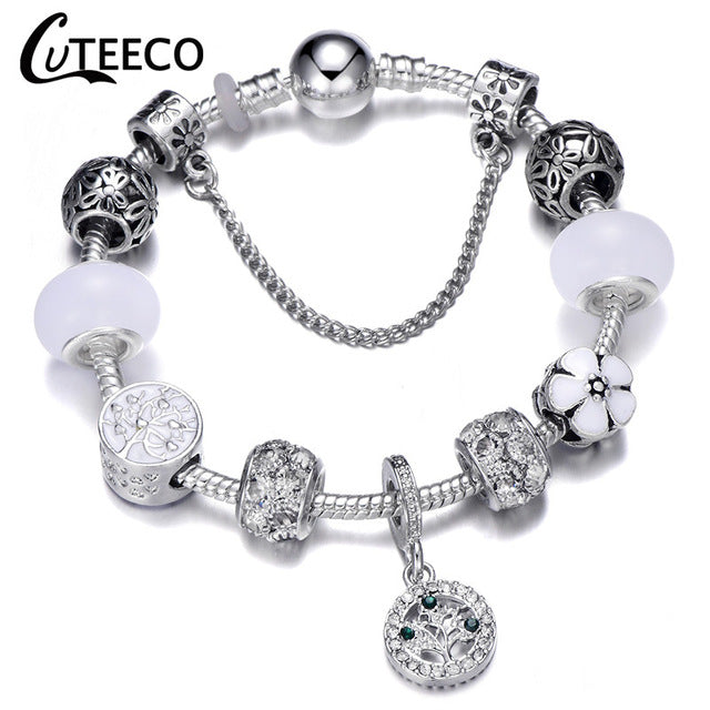 Charms Bracelet Bangle For Women Crystal Flower Fairy Bead Fit Brand Bracelets Jewelry Pulseras Mujer