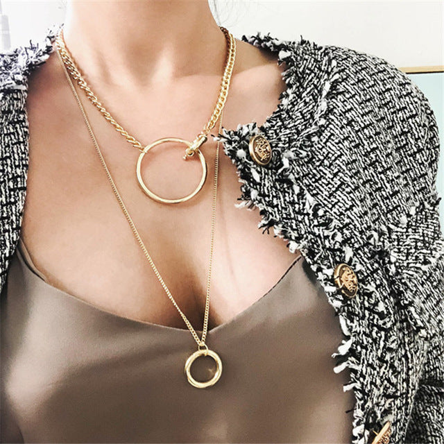 Metal Multilayer Hip hop Long Chain Cool Simple Necklace For Women men