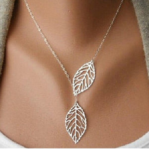 Heart Leaf Moon Pendant Necklace Crystal Necklace Women Holiday Beach Statement