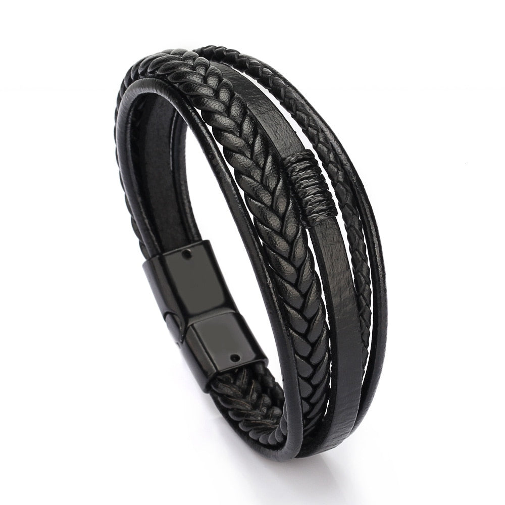 Leather Bangles Magnetic-clasp Cowhide Braided Multi Layer Wrap Trendy Bracelet