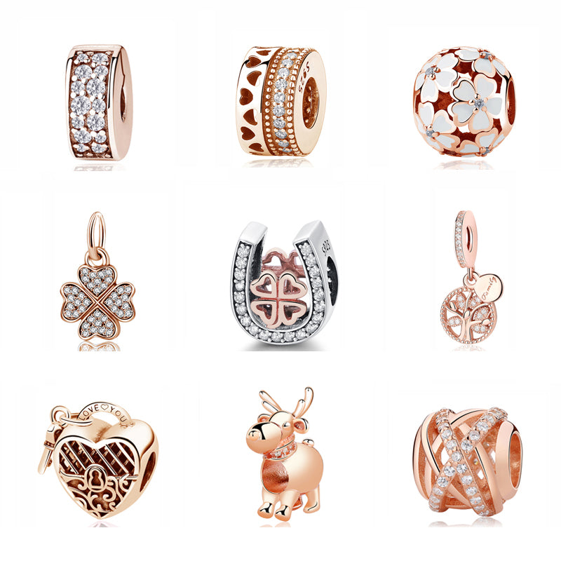 Sterling Silver Charm Bead Pendant Spacer Clip Charms Rose Gold Fit Pandora Bracelets Women DIY Jewelry