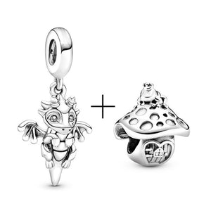 BAOPON 2Pcs/lot Cartoon Mickey Minnie Beads Fits Pandora Bracelet Necklace DIY Making Charms Bracelet For Women Jewelry Gifts
