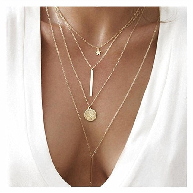 Women Fashion Gold Color Medallion Necklace Multiple Layers Pendant Long Necklaces Boho Jewelry