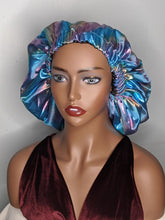 Load image into Gallery viewer, Rainbow/African Pattern Satin Lined Bonnet Cap