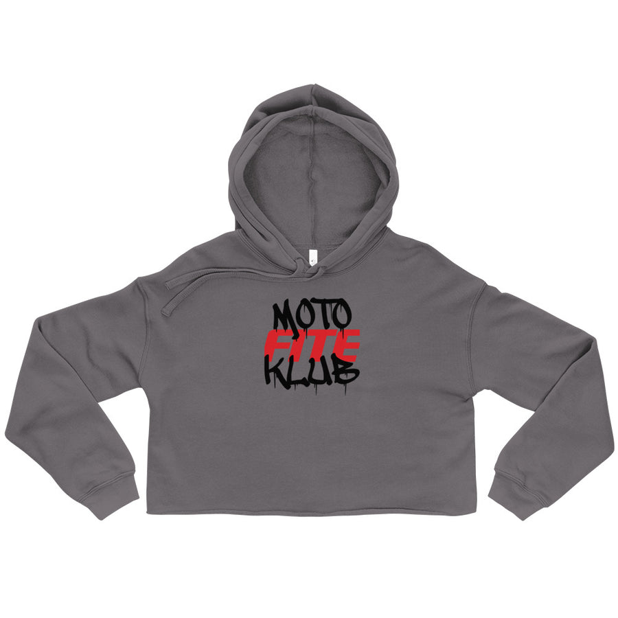 Moto Fite Klub Text Women's Crop Hoodie Grey