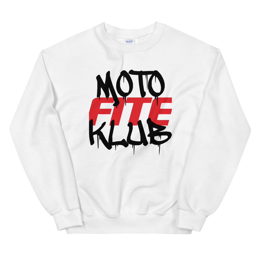 Moto Fite Klub Text Sweatshirt White