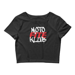 Moto Fite Klub Text Women's Crop Tee Black