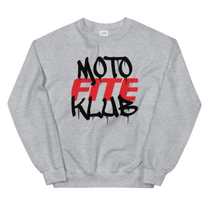Moto Fite Klub Text Sweatshirt Grey