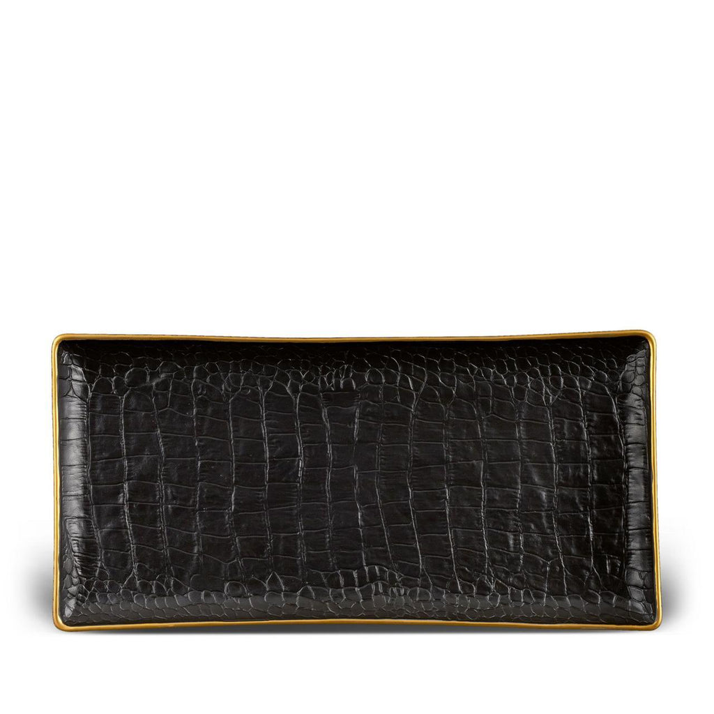Crocodile Rectangular Tray - Medium - Gold - L'Objet