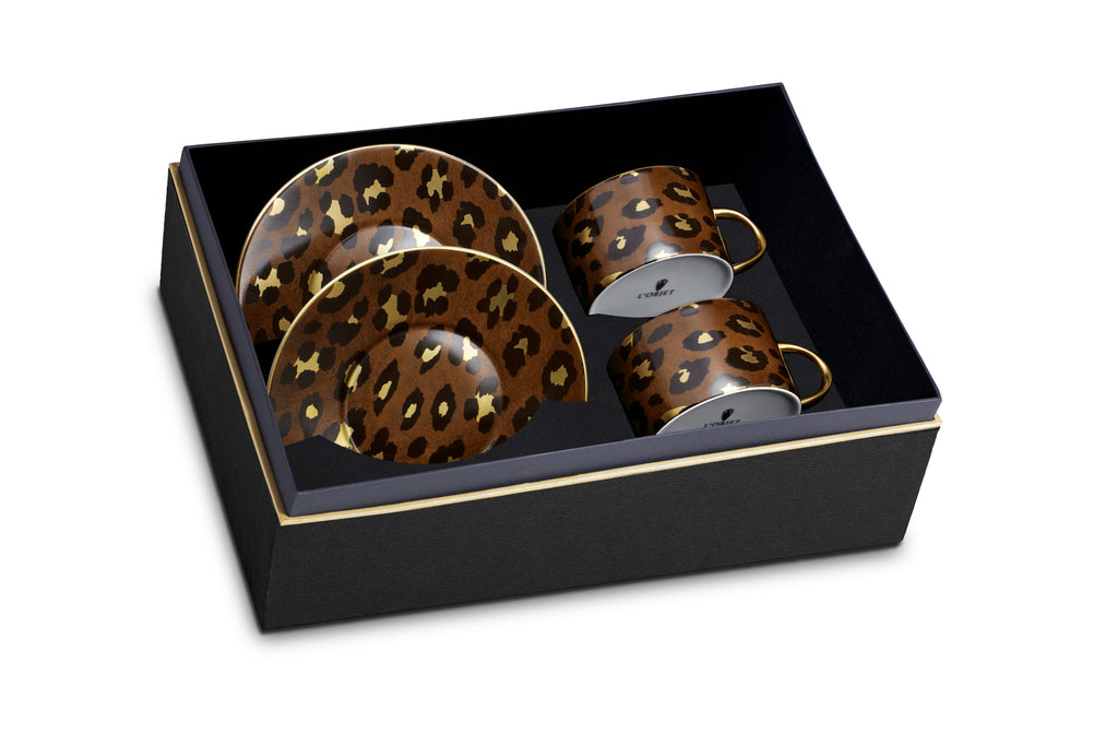 Leopard Tea Cup + Saucer (Set of 2) - L'Objet