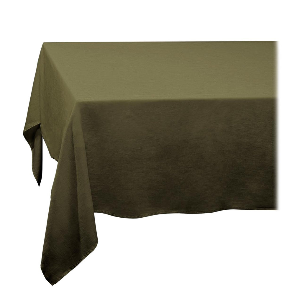 Linen Sateen Tablecloth - Large - Olive - TERTIUS COLLECTION
