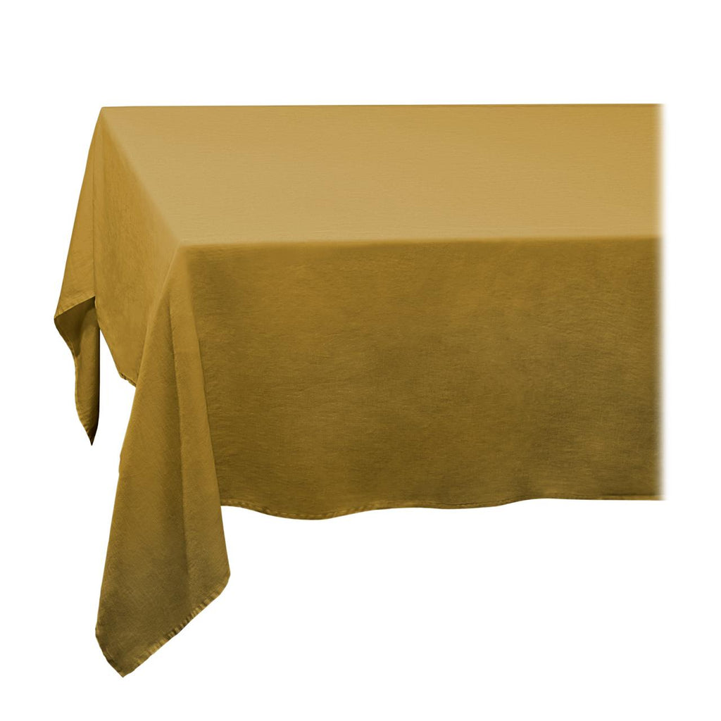 Linen Sateen Tablecloth - Large - Mustard - TERTIUS COLLECTION