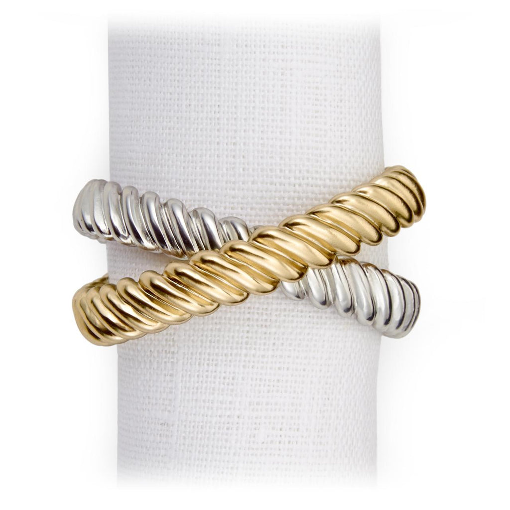 Deco Twist Napkin Jewels - Platinum & Gold
