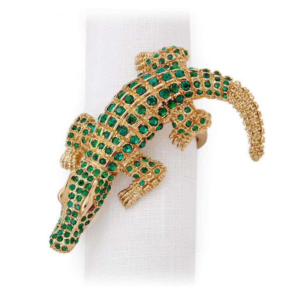 Crocodile Napkin Jewels - Gold & Green Crystals - L'Objet