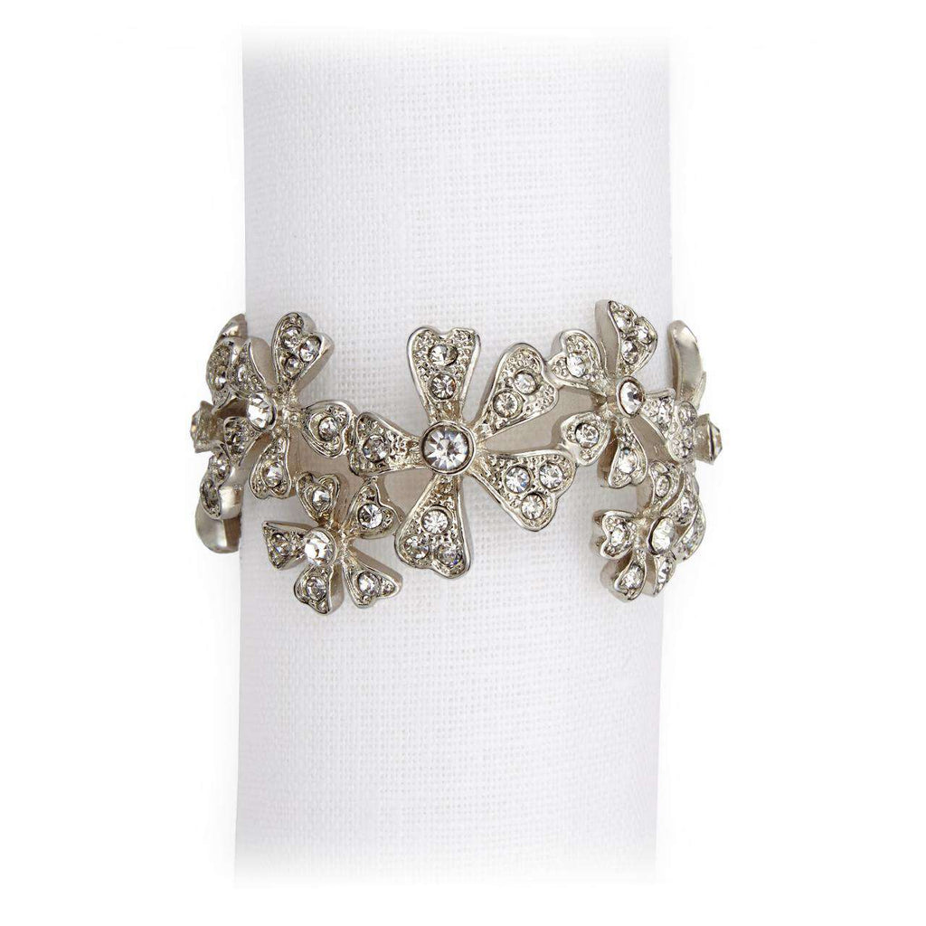 Garland Napkin Jewels - Platinum & White Crystals
