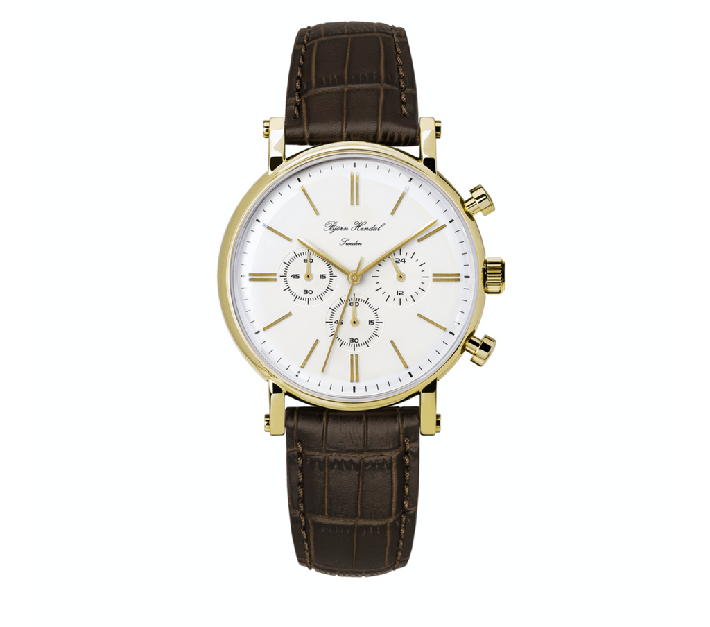 "Björn Hendal Chronograph ""Varberg"" - White Dial, Yellow Gold-Plated Case, Yellow Gold-Plated Indices and Hands - TERTIUS COLLECTION"