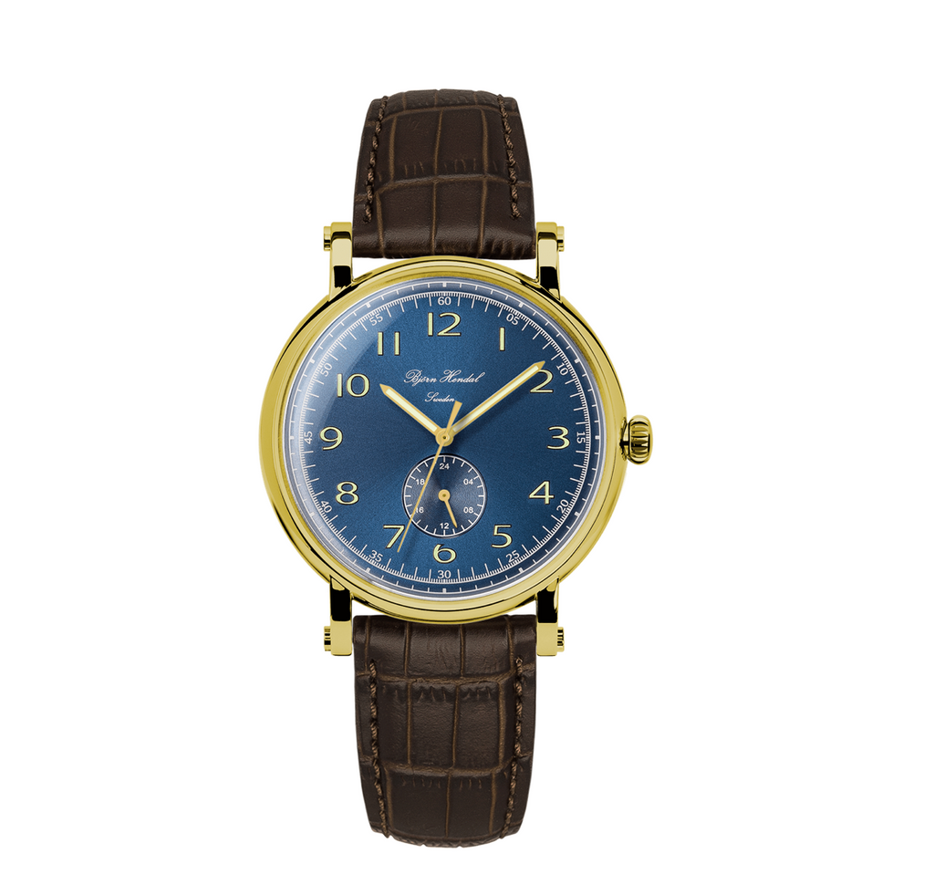 Björn Hendal Varberg Flytande 24 Yellow Gold Case Blue Dial - TERTIUS COLLECTION