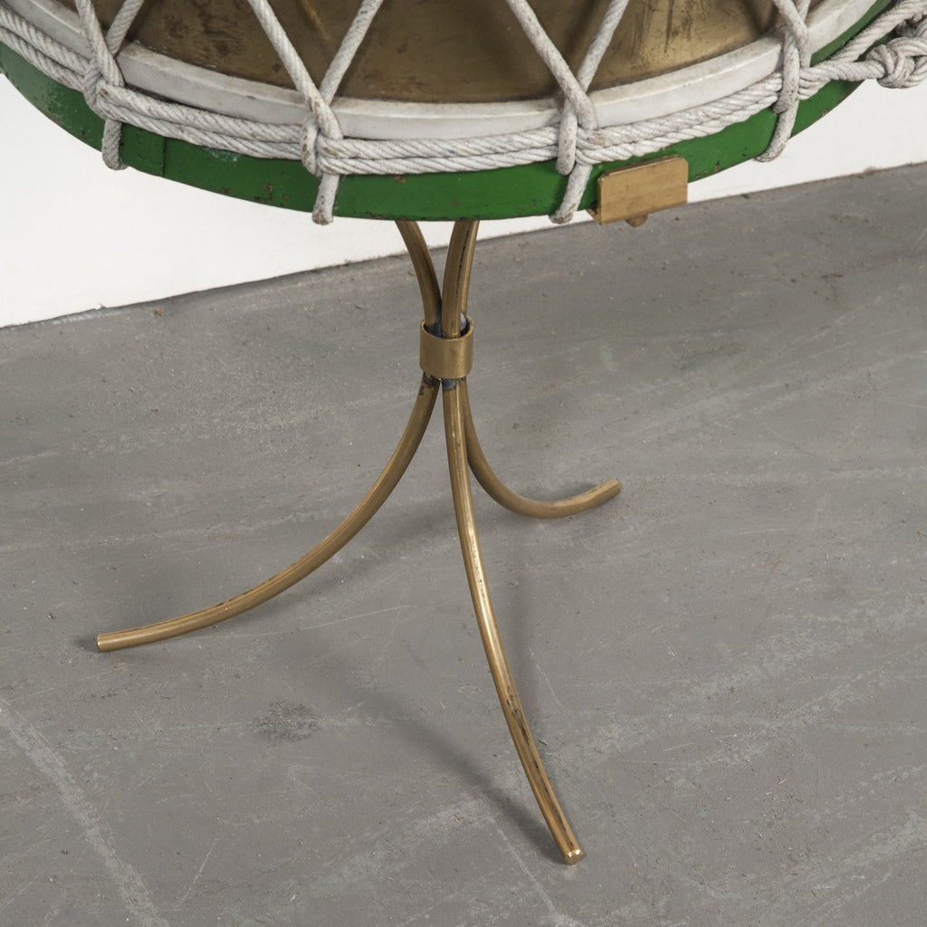 Green & Brass Drum Table - TERTIUS ANTIQUES