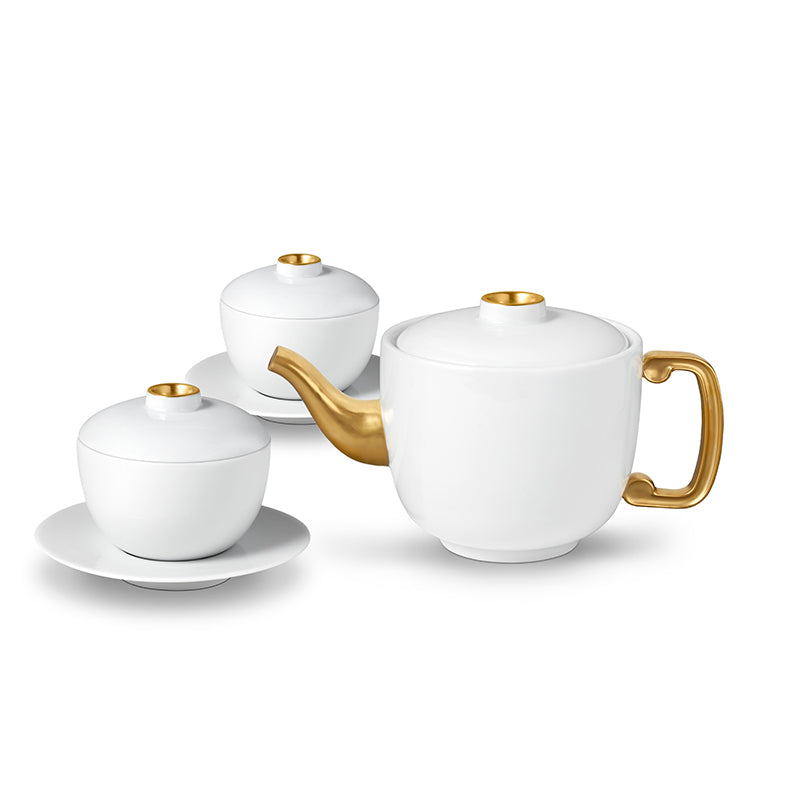 Zen Teapot, 2 Tea Cups + Saucers - TERTIUS COLLECTION