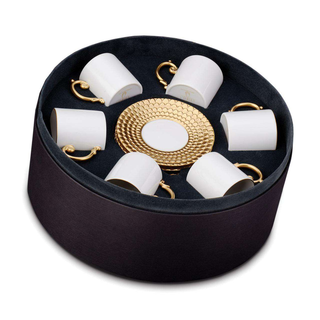 Aegean Espresso Cup & Saucer - Gold - Set of 6 - TERTIUS COLLECTION