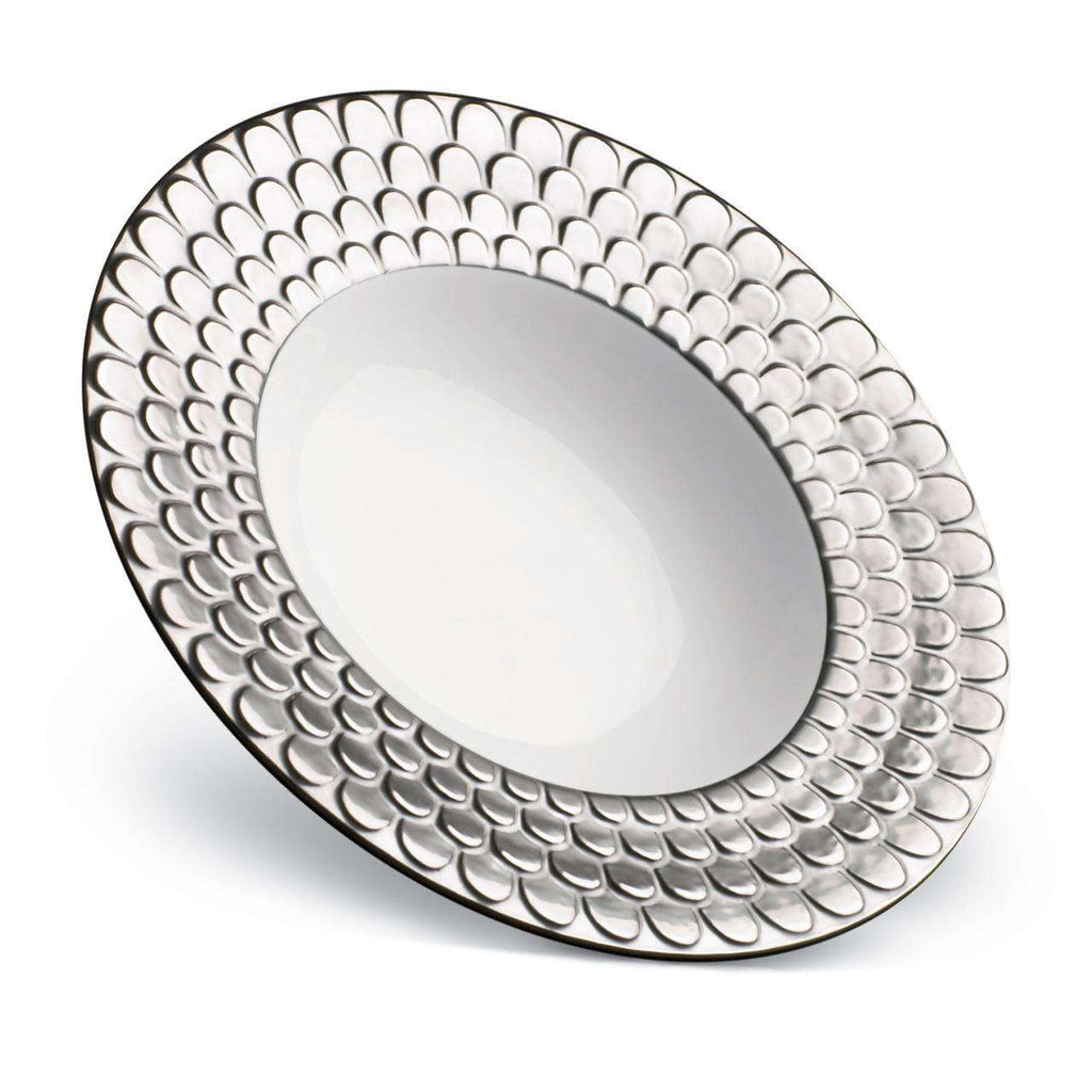 Aegean Rimmed Serving Bowl - Large - Platinum - TERTIUS COLLECTION