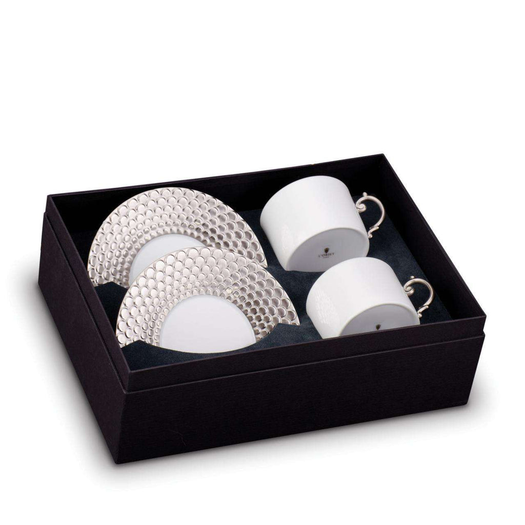 Aegean Tea Cup & Saucer - Platinum - TERTIUS COLLECTION