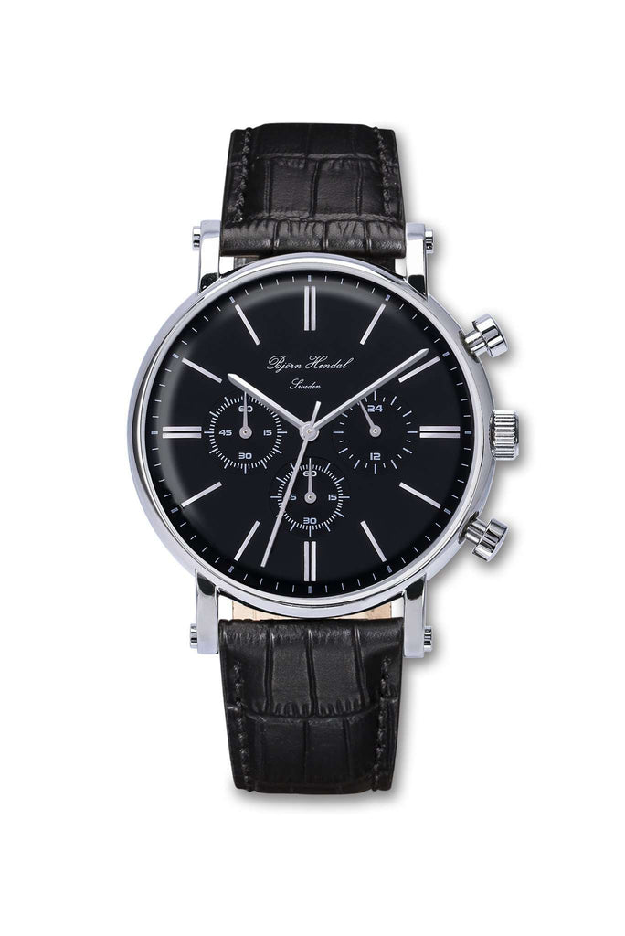 "Björn Hendal Chronograph Black Steel ""Varberg"" Black Croco - TERTIUS COLLECTION"