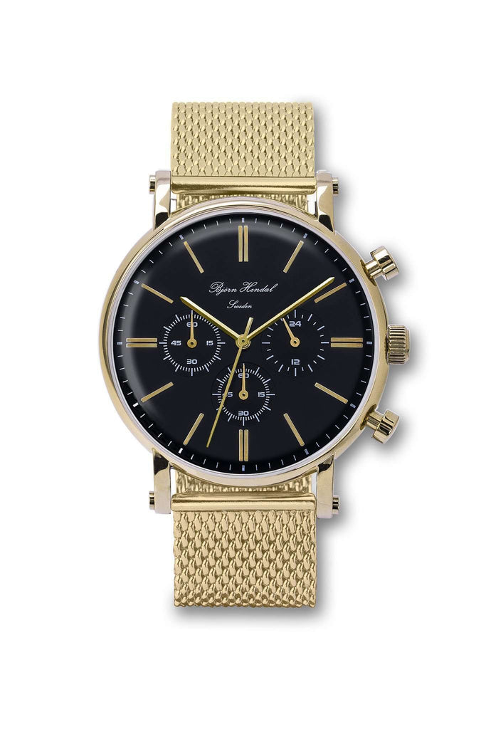 "Björn Hendal Chronograph Black  ""Varberg"" Gold Milanese - TERTIUS COLLECTION"