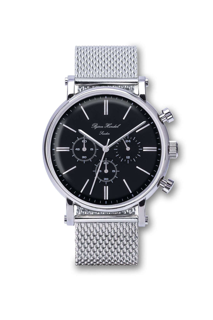 "Björn Hendal Chronograph Black ""Varberg"" Steel Milanese - TERTIUS COLLECTION"