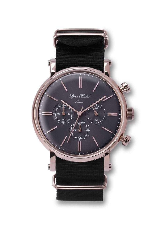 "Björn Hendal Chronograph Rose Gold  Grey Dial  ""Varberg""  Black NATO - TERTIUS COLLECTION"