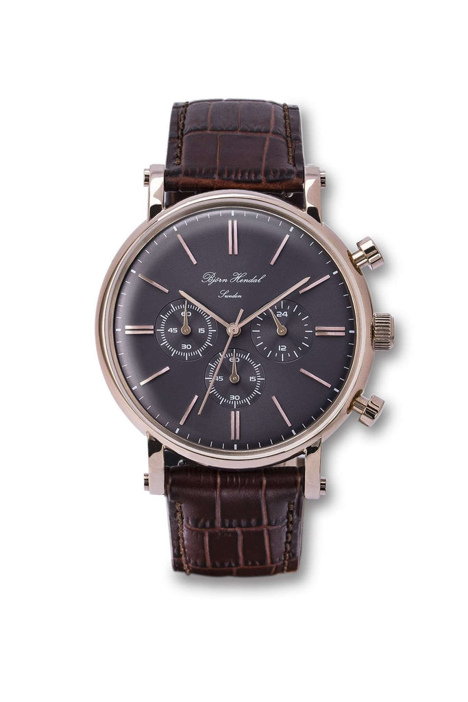 "Björn Hendal Chronograph ""Varberg"" - 'Limited Edition' Grey Dial, Rose-Gold-Plated Case with matching Indices & Hands - TERTIUS COLLECTION"