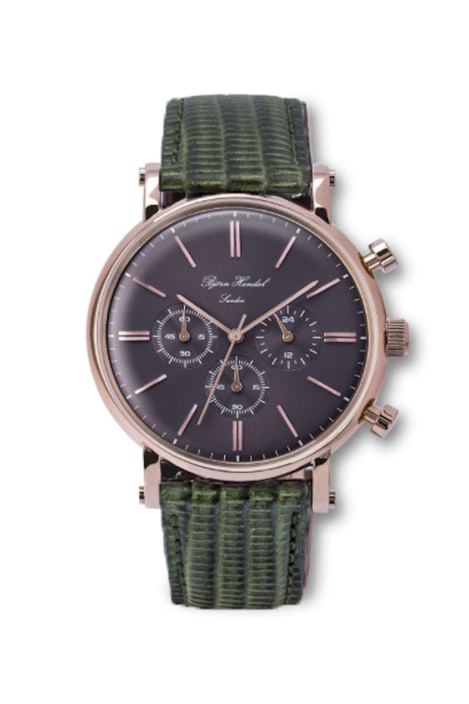 "Björn Hendal Chronograph Rose Gold  Grey Dial  ""Varberg""  Green Lizard - TERTIUS COLLECTION"