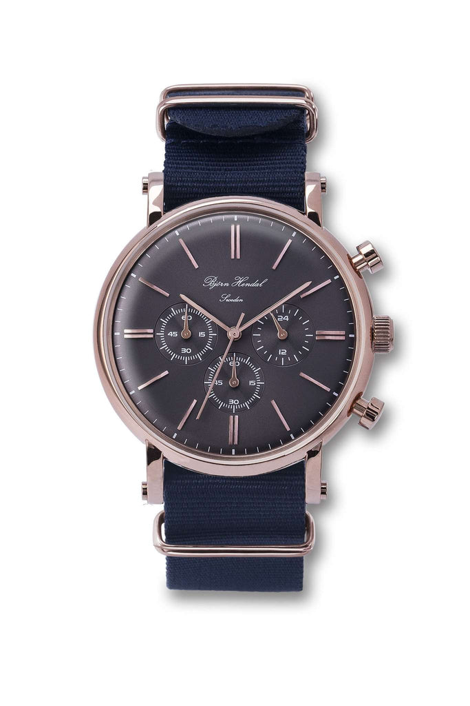 "Björn Hendal Chronograph Rose Gold  Grey Dial  ""Varberg""  Navy NATO - TERTIUS COLLECTION"