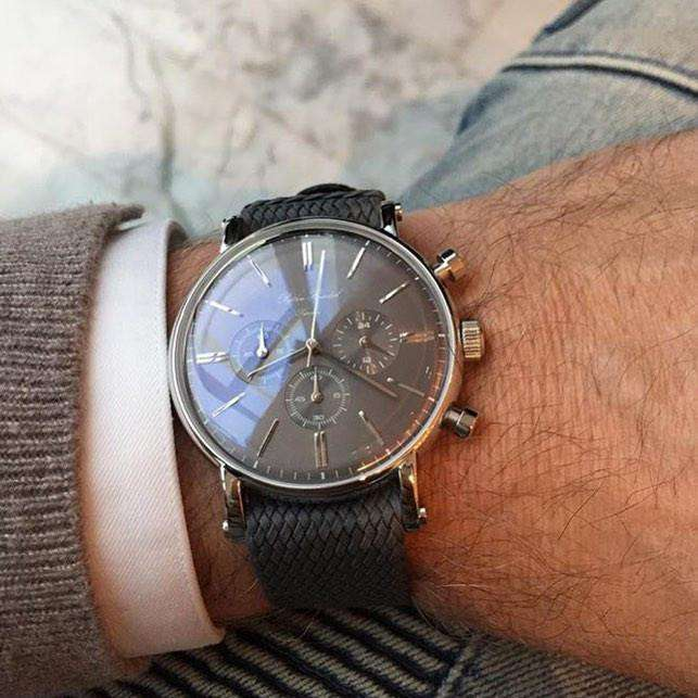 "Björn Hendal Chronograph ""Varberg"" - Stainless Steel Case, Grey Dial, Rose-Gold Indices & Hands - TERTIUS COLLECTION"