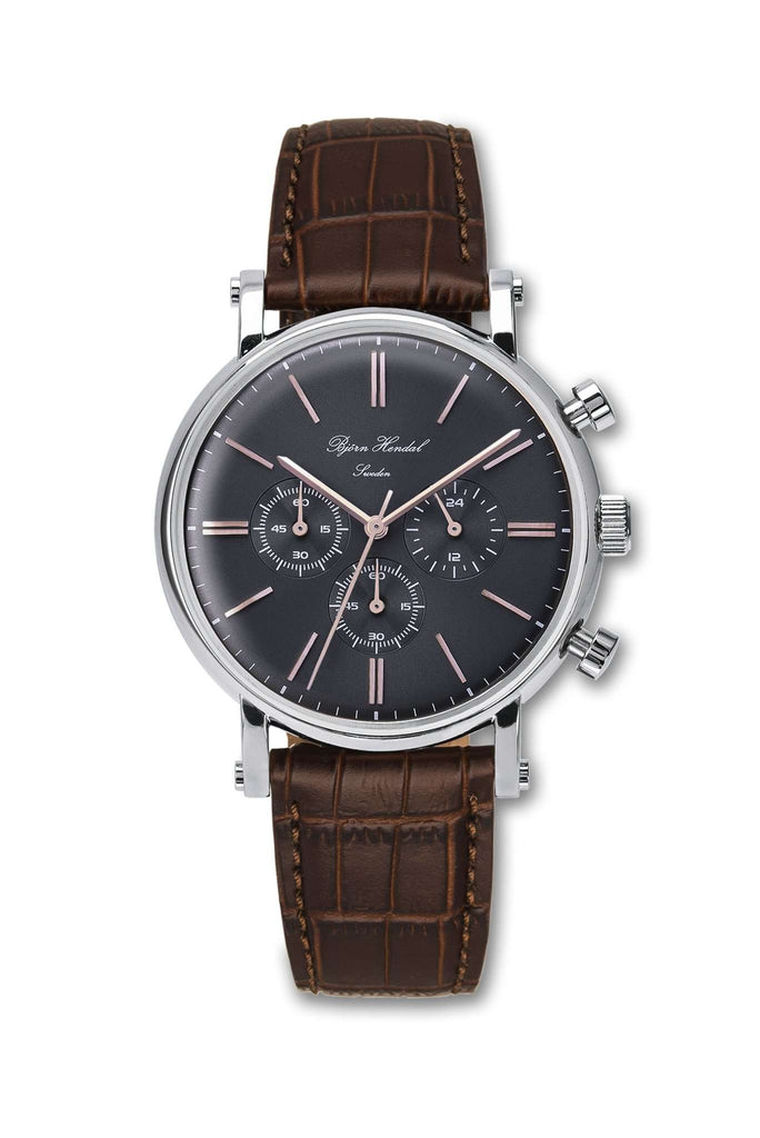 "Björn Hendal Chronograph Stainless Steel Grey Dial Rose ""Varberg"" Brown Croco - TERTIUS COLLECTION"