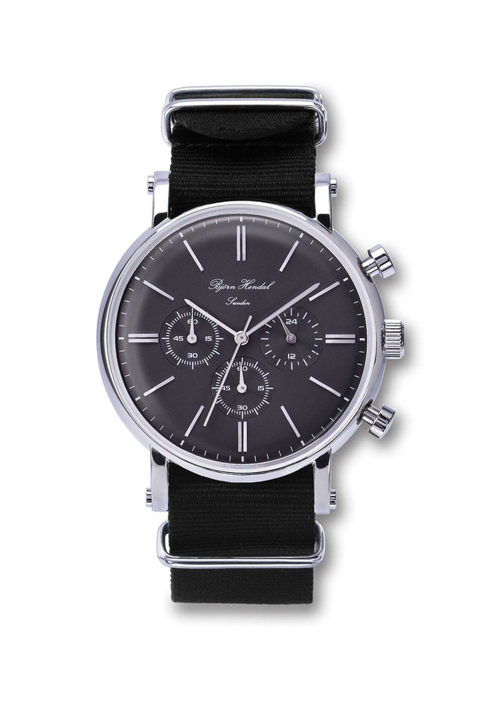 "Björn Hendal Chronograph Stainless Steel Grey Dial  ""Varberg""  Black Nato - TERTIUS COLLECTION"