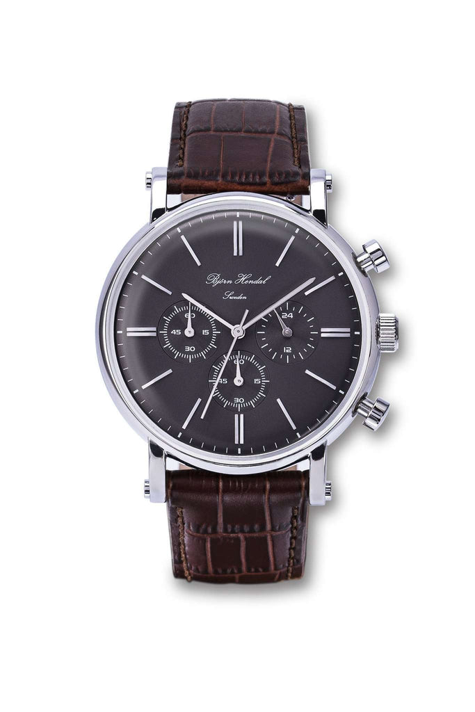 "Björn Hendal Chronograph Stainless Steel  Grey Dial  ""Varberg""  Brown Croco - TERTIUS COLLECTION"